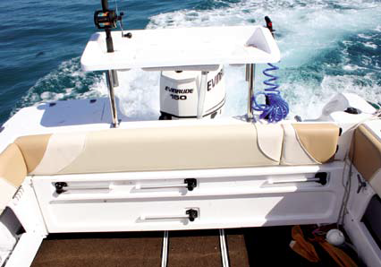 The fold-away rear lounge now extends right across the stern of the boat.