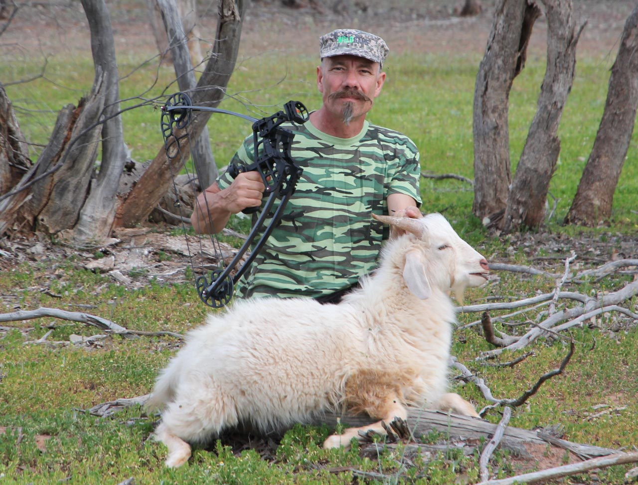 The SR Xtreme may be small, but it delivered a 100g broadhead-tipped arrow with full penetration on this midsized goat.