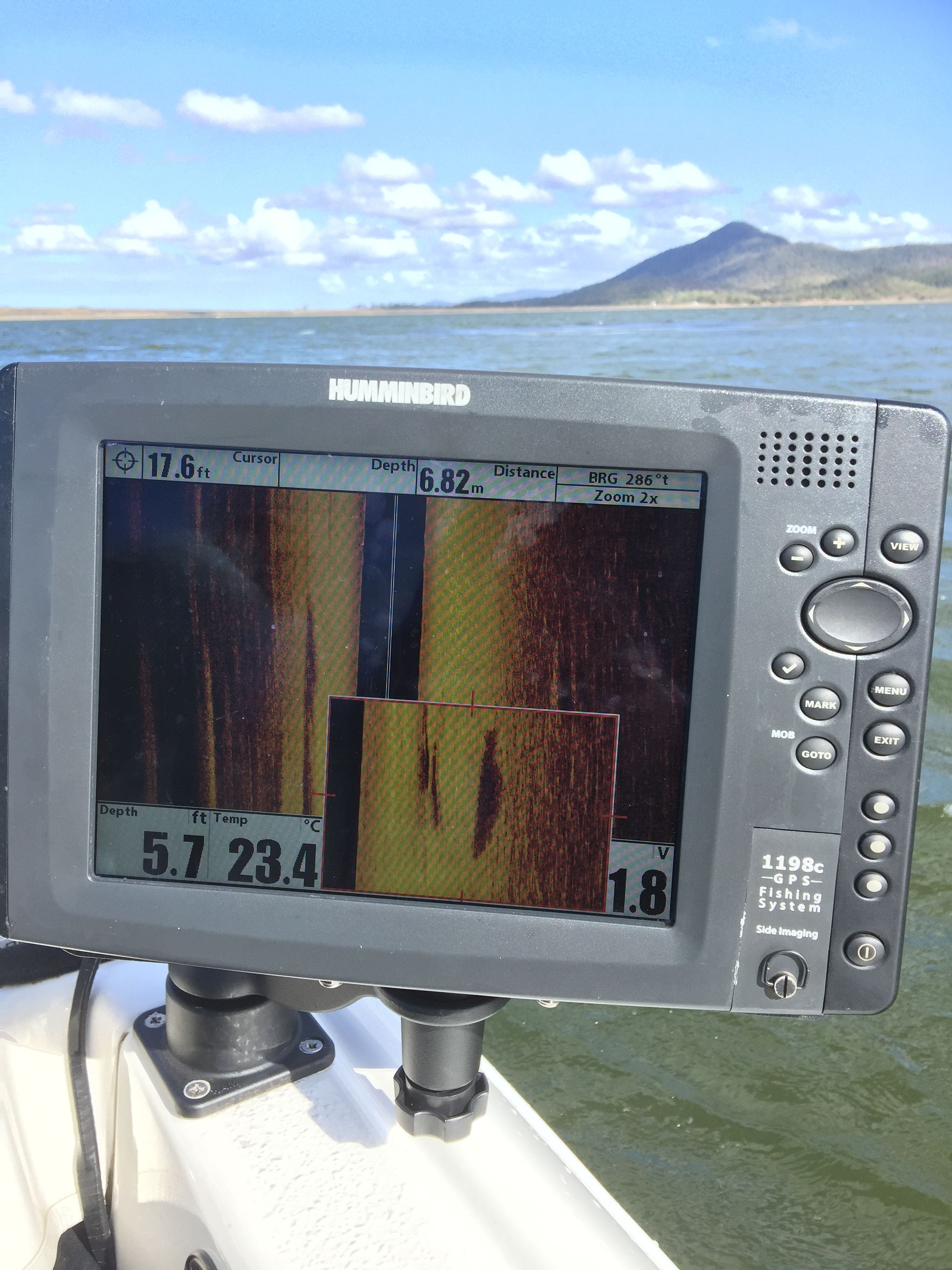 The Humminbird 1198 SI sounder showed barra coming through to the right of the boat.