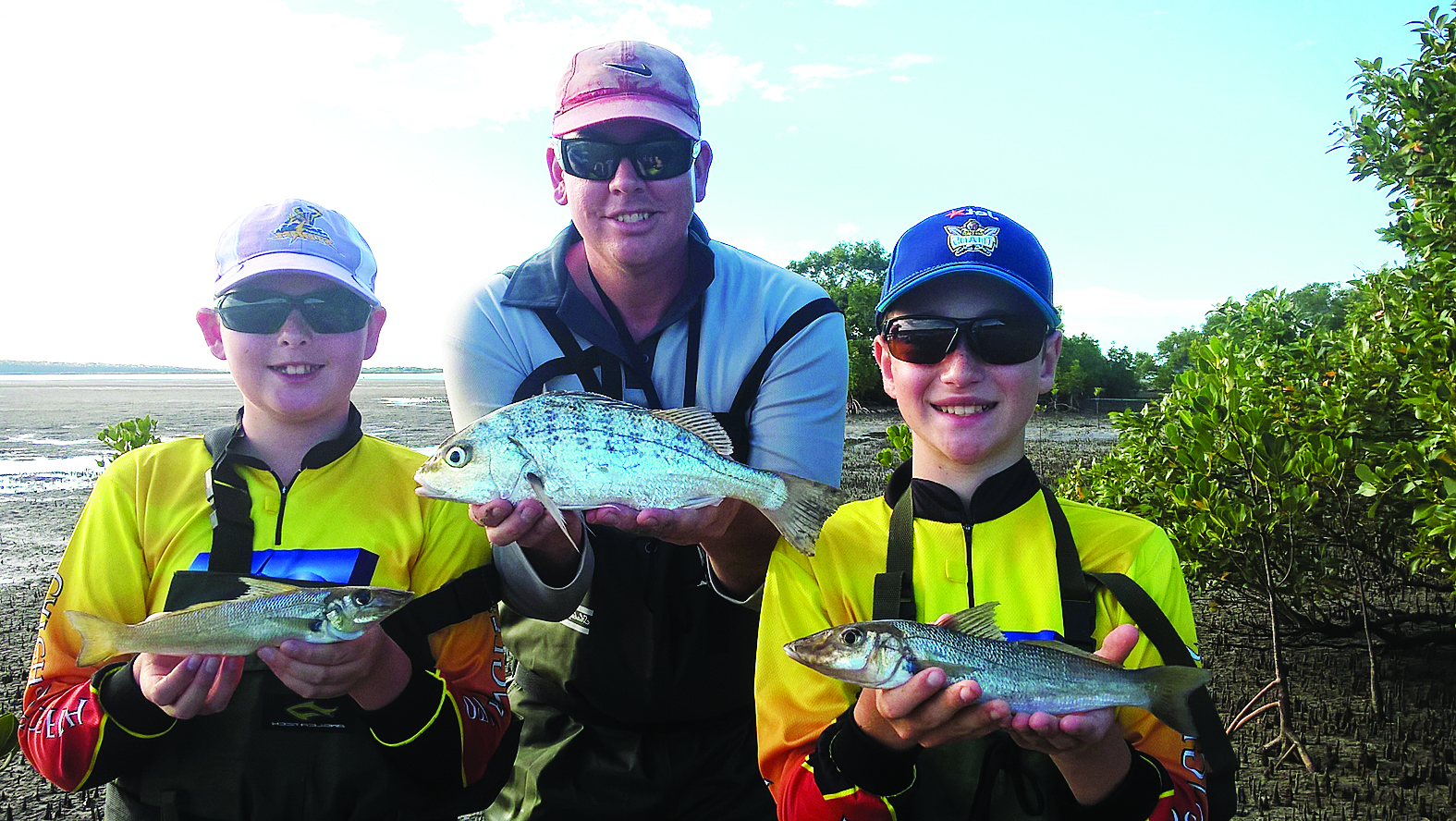 Some big whiting and a grunter from the Fraser flats.