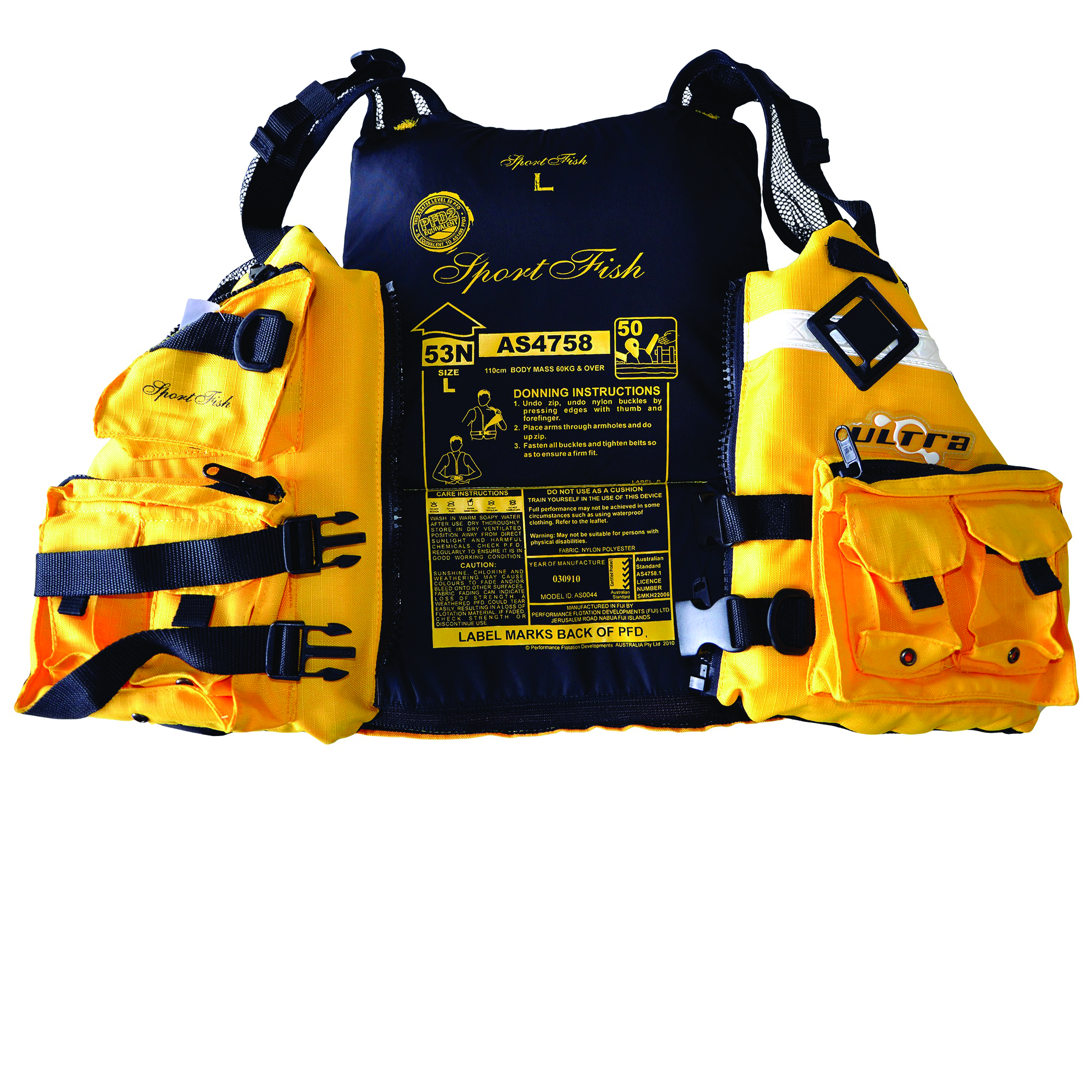 An AS4758 approved PFD with donning instructions is highly recommended to ensure you comply with regulations.