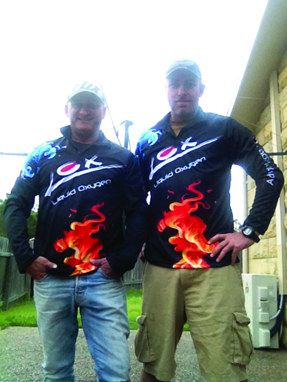 Nath and Caino in their fresh 2 Mates Fishin shirts.