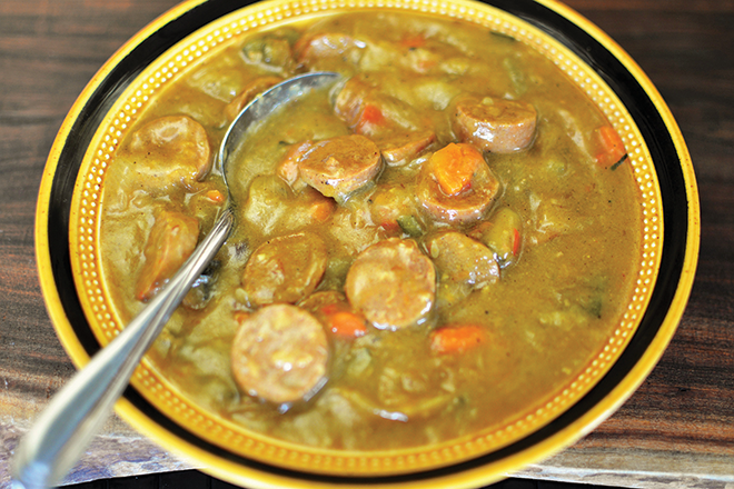 One-pot curried sausages recipe