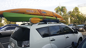 Two larger kayaks weigh in at nearly 60kg and affect the cornering ability of a car when strapped to the roof.