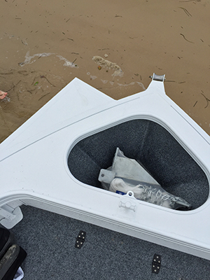 Generously sized anchor well is standard fitment while the electric motor bow-mount plate is an optional extra.