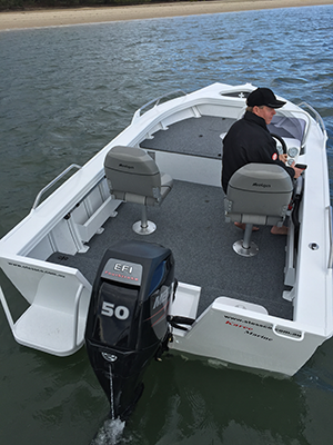While not as good as a full rear pod, the transom step and rails make boarding and disembarking pain free.