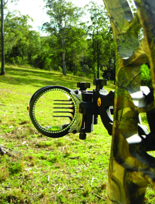 The Trophy Ridge React sight including micro adjustment and tool-less locking devices.