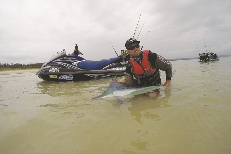 jet ski fishing fraser island black marlin