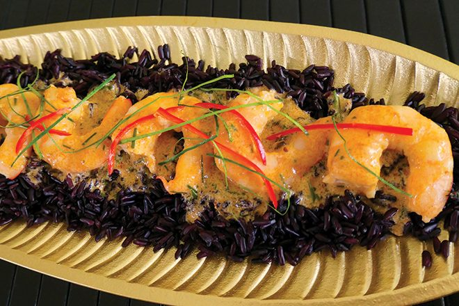 Red curry prawns on black rice recipe