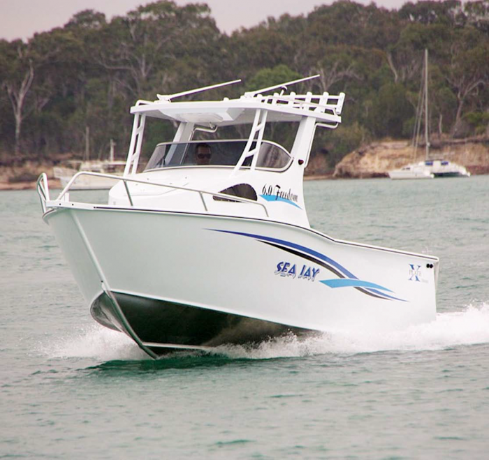 The high swept bow deflects the spray in rough conditions. Photo: Sea Jay