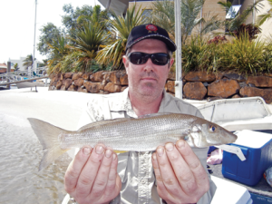 Terry Finch with one of the many whiting he caught on the day.