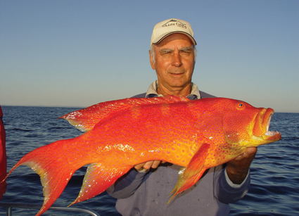 Terry Lamprecht with a sizeable coronation trout extracted from a big reef system east of Sandy Cape on Fraser Island.