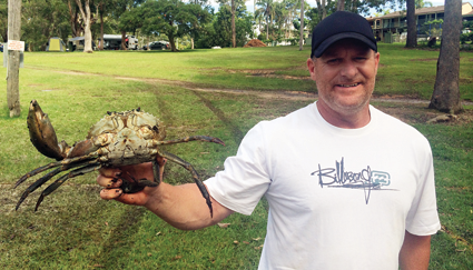 Mark with a mud crab.