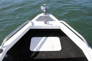 The front casting platform has a massive amount of storage under the hatch. There is also ample room for plenty of chain and anchor rope in the front well.