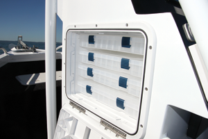 Tackle trays stored in the helm are easily accessible yet out of the way.