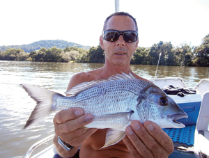 Quality bream such as this one will school up around the full moons over the next few months and respond to a variety of small lures.