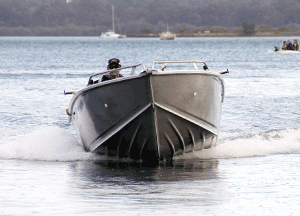Head-on shot without the SLTs – boat leaning to one side.