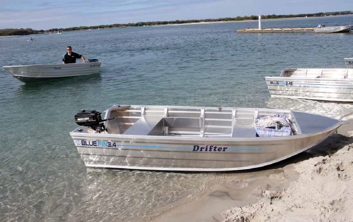 Various size outboards suit the Drifter.