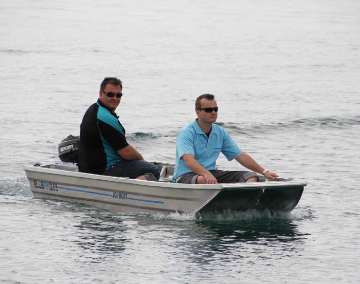 Even with two adults and an outboard the Jon Boat has plenty of free board.