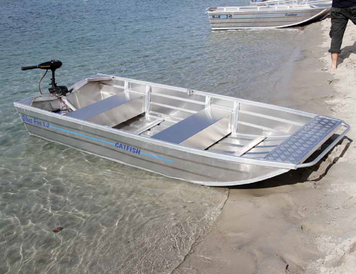 The punt style Catfish is very stable and its efficient hull can be pushed by an taken you could stand up electric motor or outboard.