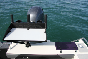 The bait board can be removed and an optional ski pole fitted, turning this predominantly hard-core fishing rig into a family fun boat.