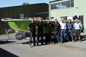 The staff members of Stessl Boats were proud of the author's new 6.1m side console.