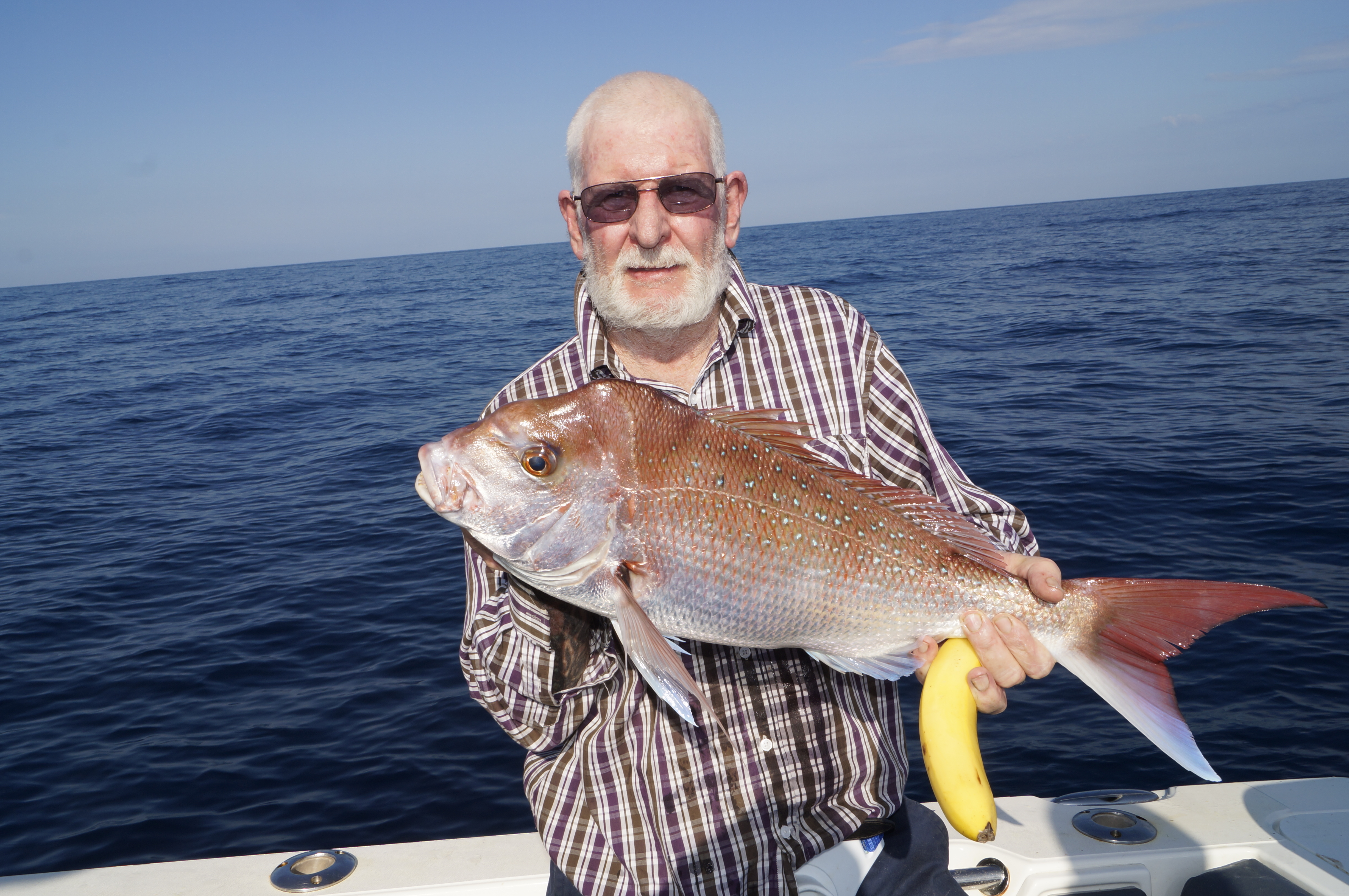 Bananas with lunch didn't stop Andy Odgers from catching cracker snapper.
