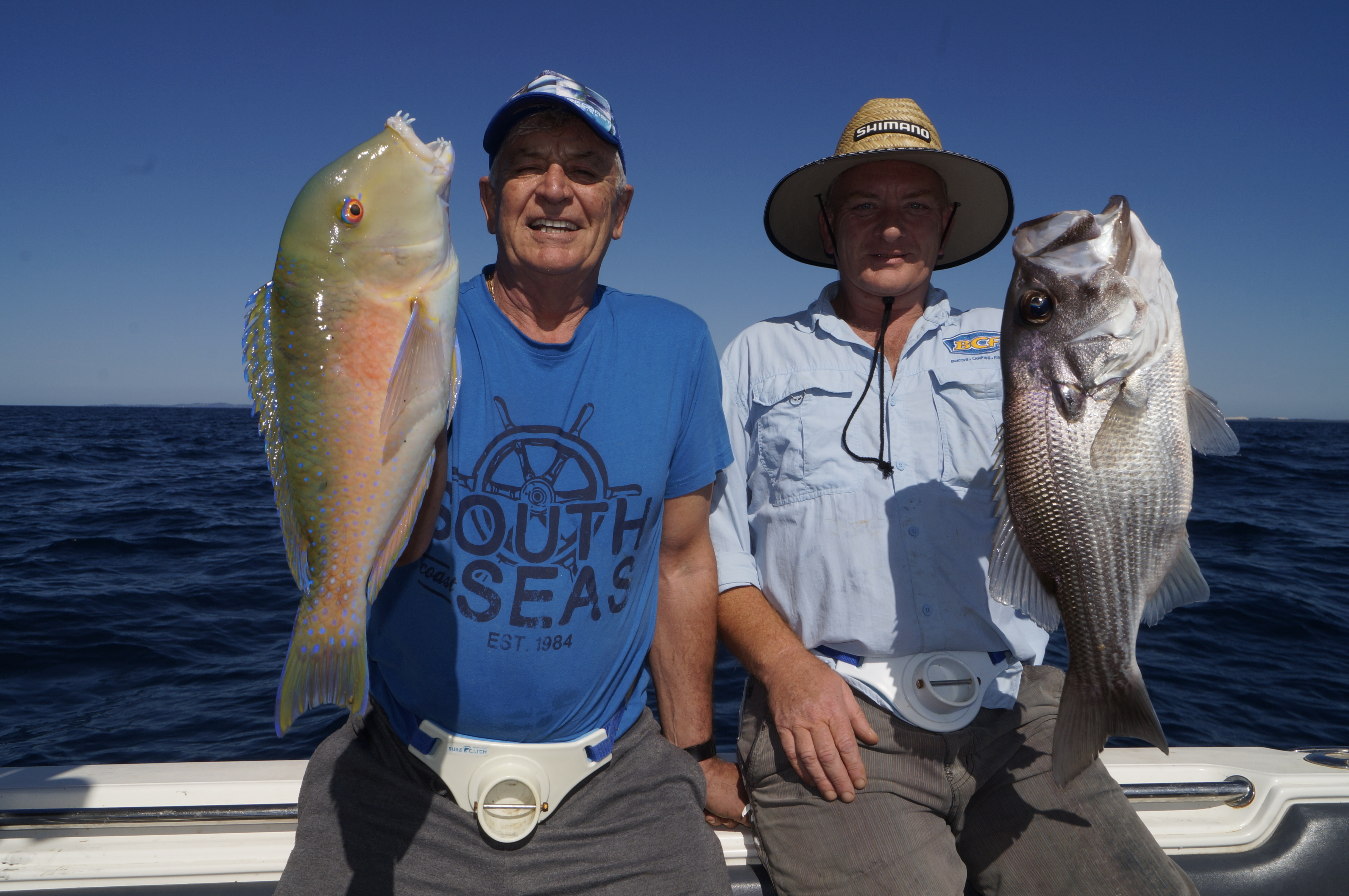John Woods and Kirwan were happy with this parrot and pearl perch from the Moreton close reefs.