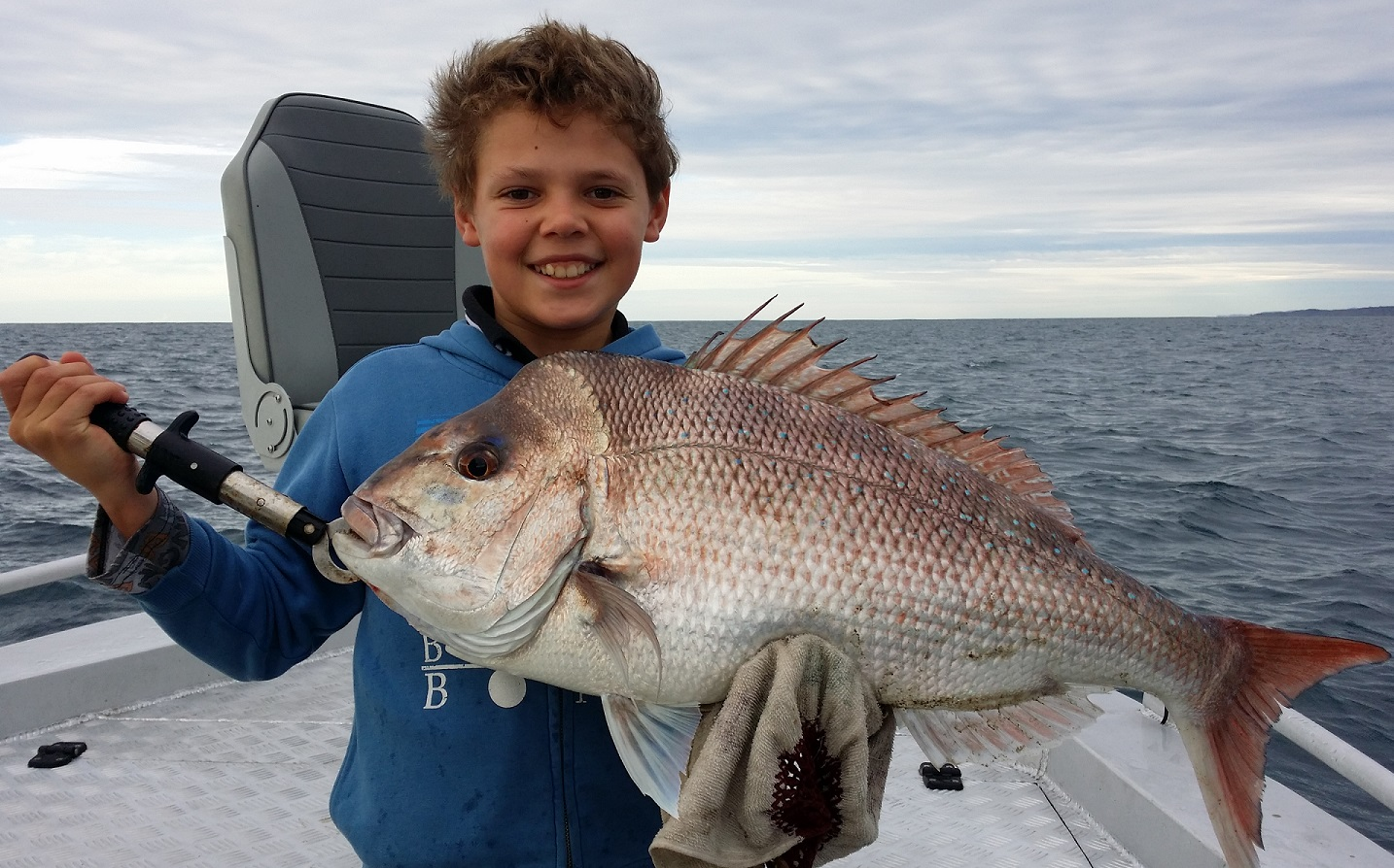 Angus with an 80cm snapper.