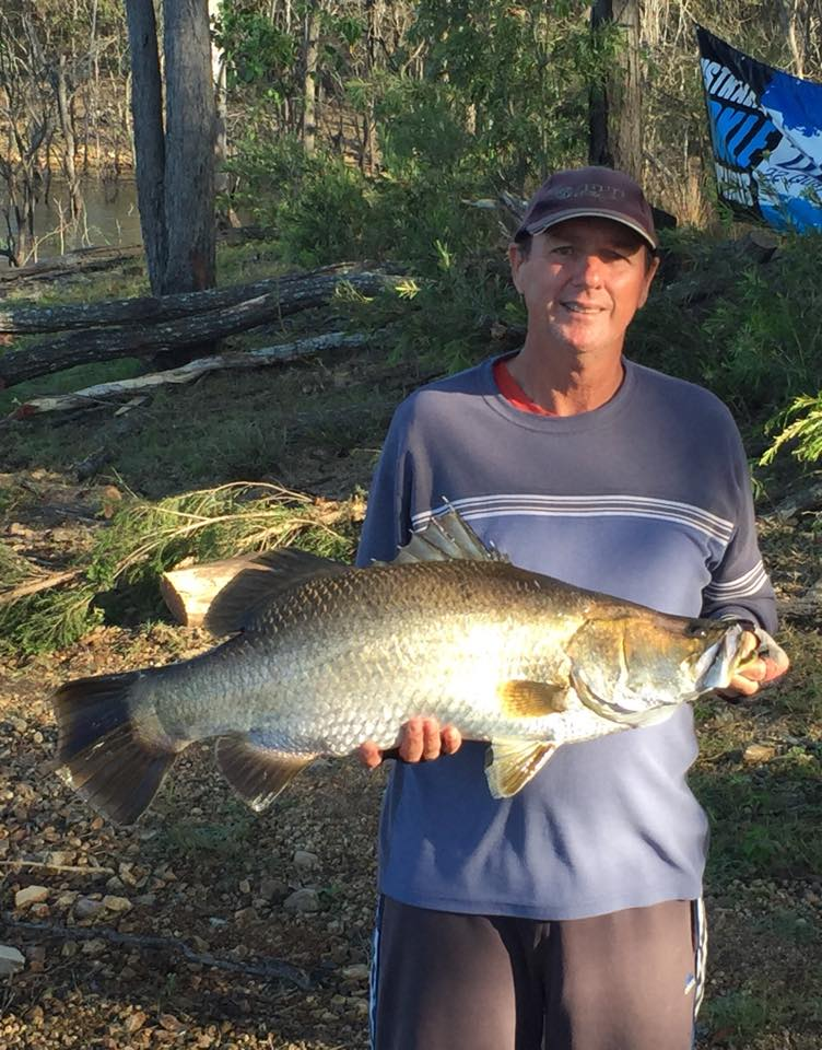 Keith Whalley with the 87cm winning barra he caught at the Win Television Monduran Family Fishing competition.