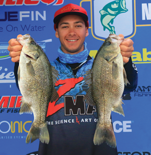 A very happy Dane Radosevic held up the second place bag and his AOY title-winning bass.