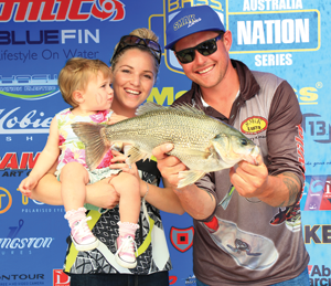 Garry Harmen and his family with a big bass.