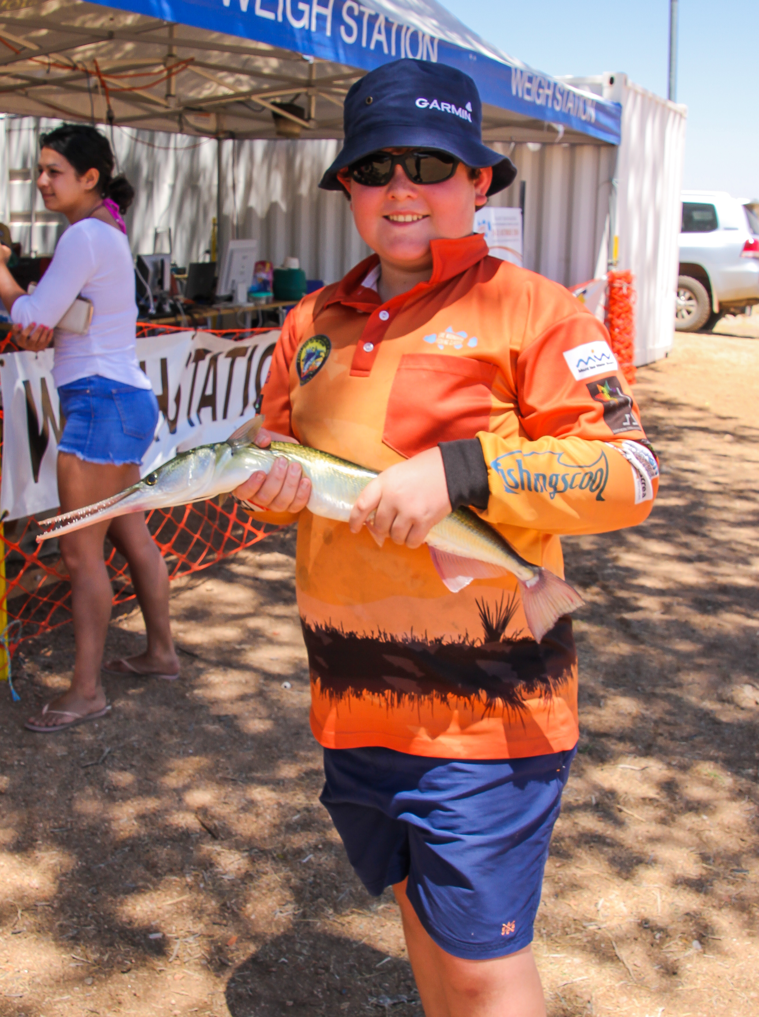 Junior competitor Andrew Knight with a Longtom caught at the 2014 Clancy Corporation Lake Moondarra Fishing Classic.