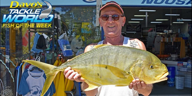 Marty Coulton won the $50.00 Davo's Fish of the Week prize with the 4kg golden trevally he caught at the river mouth.