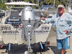 The author at Ballina Marineland with his new Honda outboard.