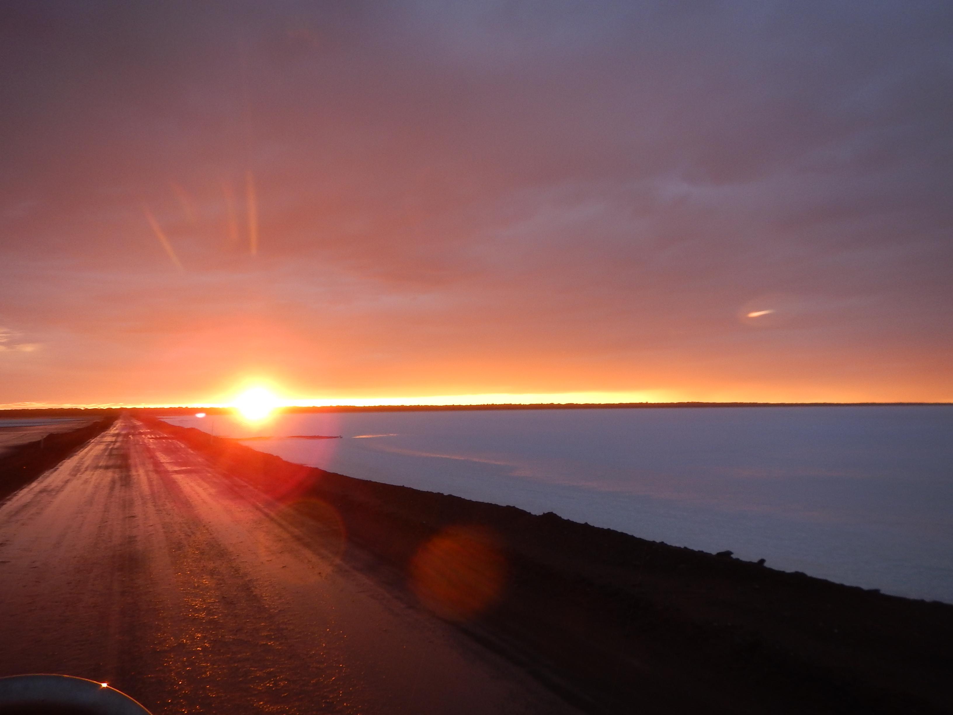 Sunrise over the salt lakes.