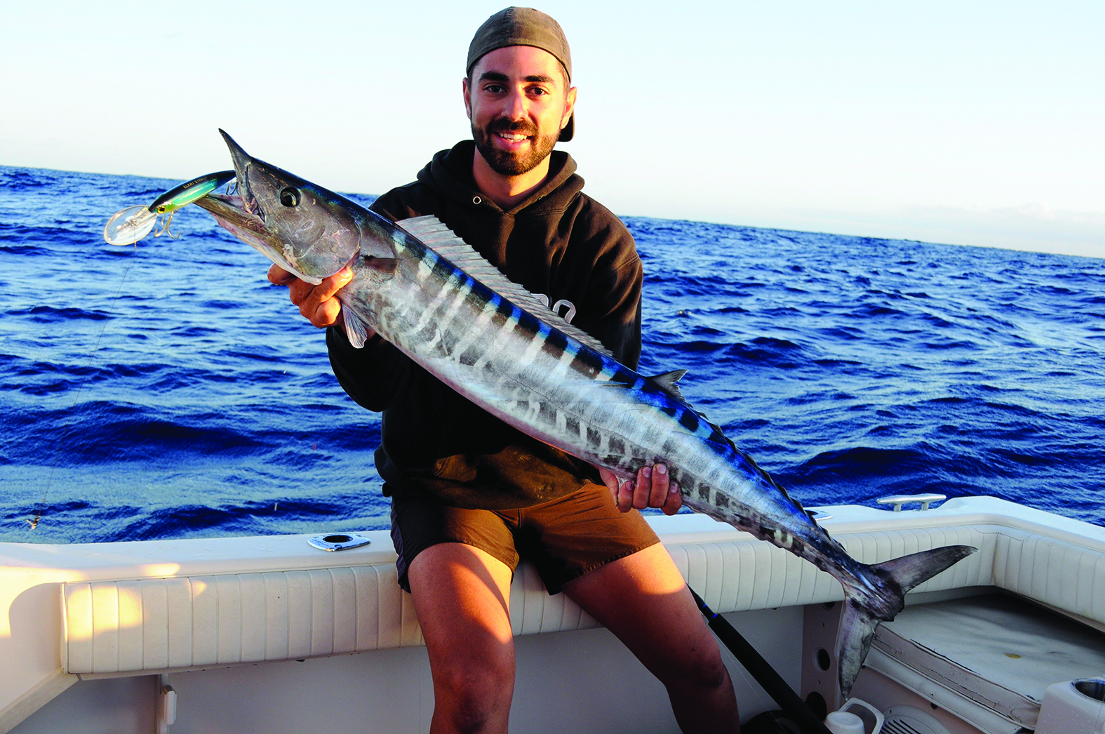 Peter with a great-sized school wahoo that took an ELKAT 120mm Striker Deep Diver.