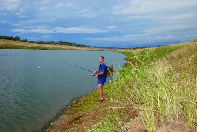 Fishing from the bank can be productive, however inland temperatures can be hot at this time of year.