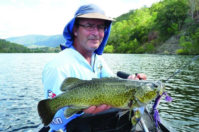 Andy 'Prof' Bullen with a lovely cod hooked on a Bassman Spinnerbait.