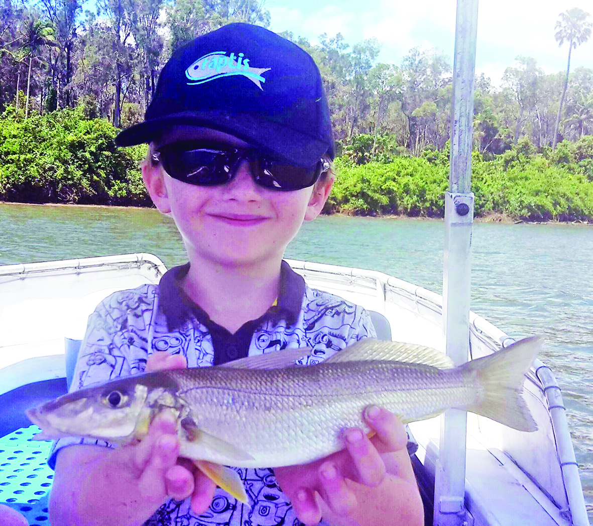 Young Brady with his first whiting, which was caught while trolling a small Pontoon21 lure.