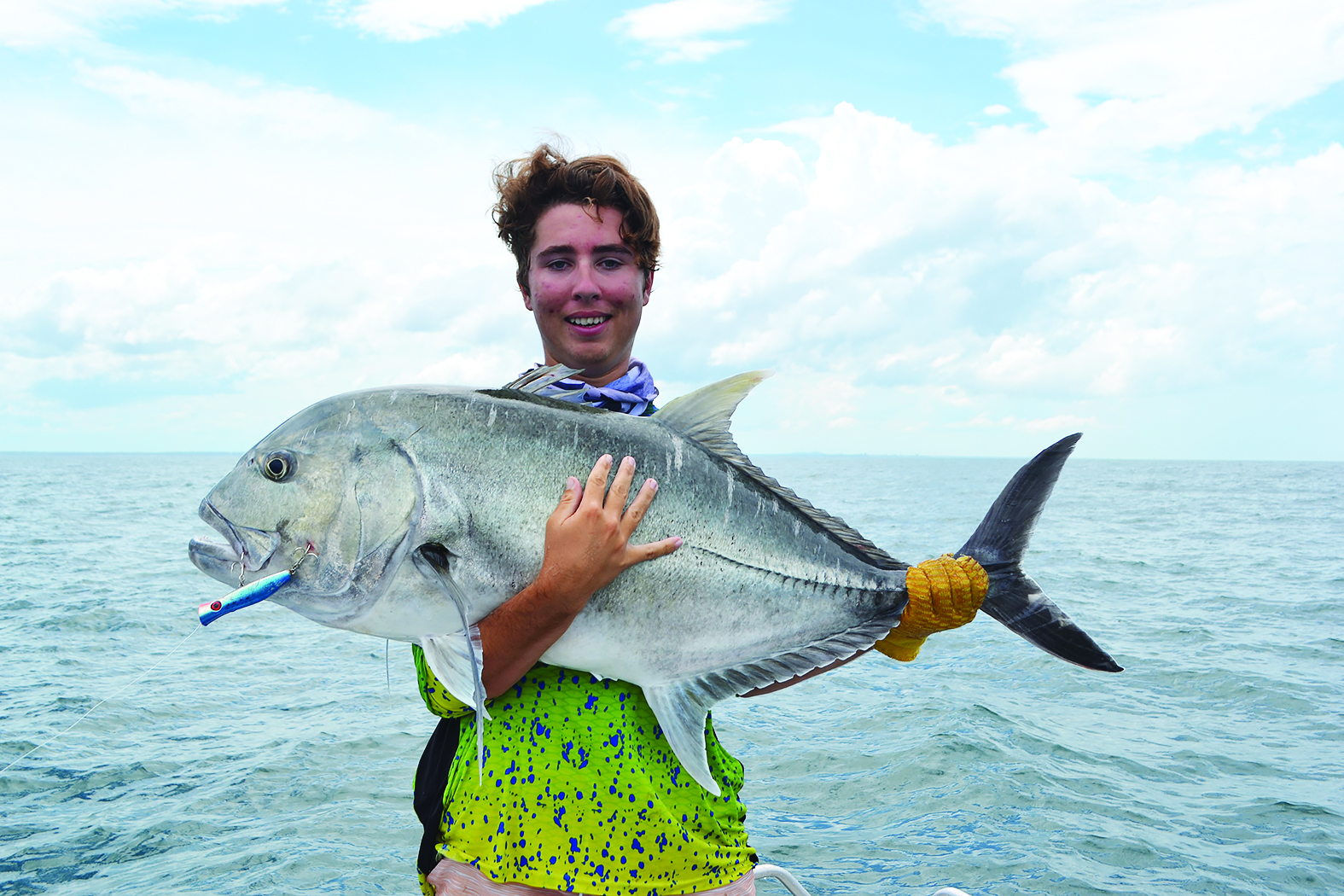 Matthew Horvath with a whopping 20kg giant trevally, which was a fantastic capture on 30lb tackle.
