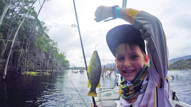 Ethan with a spangled perch.