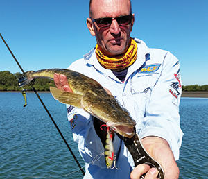 Mal hooked a 58cm flathead while casting a Zerek Fish Trap in 3m of water.