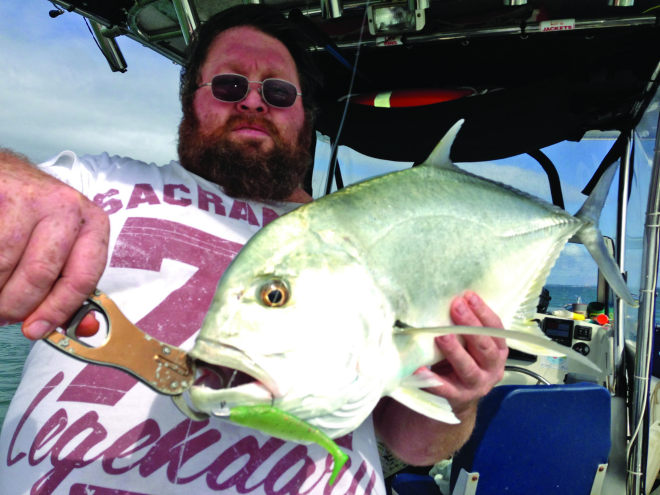 Chris landed this 73cm Moreton Bay GT on a 5-14lb Wilson Magnum rod, 3000 Magnum reel, 10lb braid, 14lb leader and a Gobblers Paddle Tail while drifting over the rubble grounds chasing snapper.