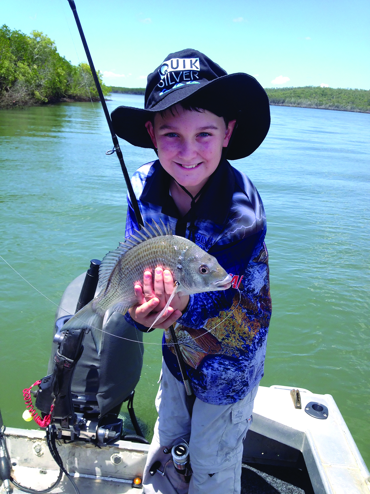 The author's son with a Corio Bay bream.