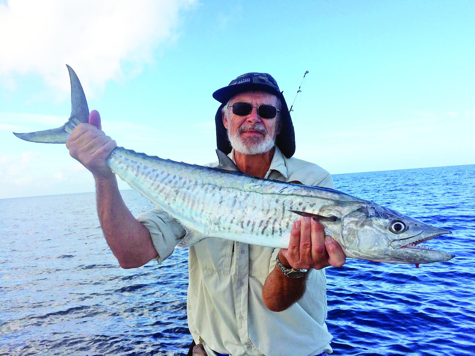 Carey hooked a speedy spanish mackerel.