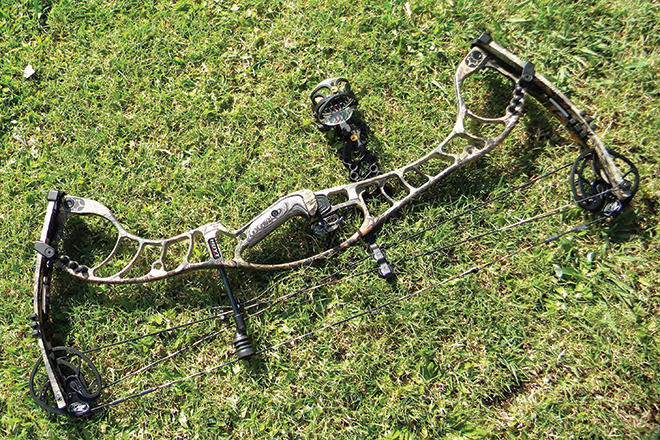 The author's Hoyt 60lb Faktor 34 set up with the Trophy Ridge 5 Pin React sight.
