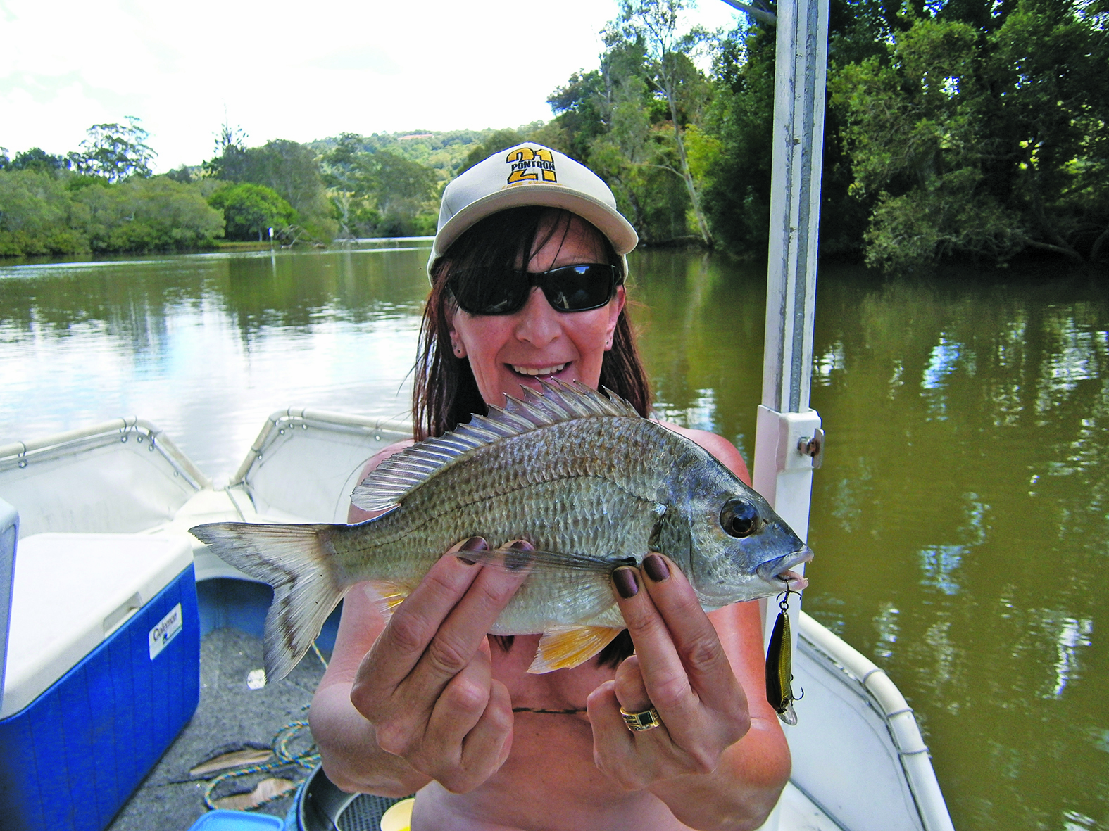 The author's wife Angie enjoys having a go for bream on lures.