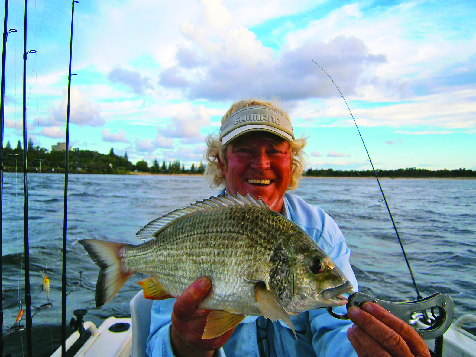 The author with a bream boated in the Clarence River.