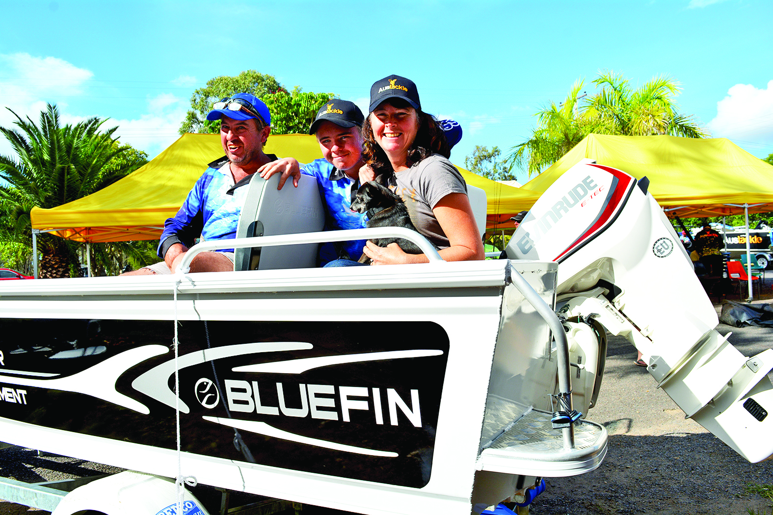 The Pedler family in their brand-new Bluefin prize boat.